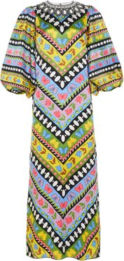 Andrew Gn Embellished Printed Silk Maxi Dress