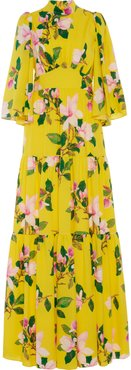 Andrew Gn Floral Silk Tiered Maxi Skirt