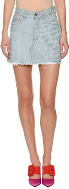 Stone-washed Denim Skirt with Bonded Crystals
