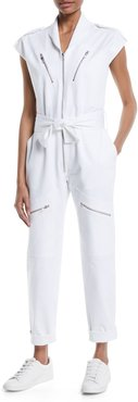 Bathilde Cap-Sleeve Zip-Front Straight-Leg Utility Denim Jumpsuit