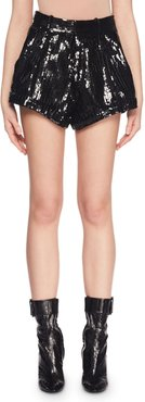 Allover Sequin Flared-Leg Cuffed Shorts
