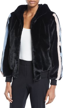 Christy Star-Intarsia Faux-Fur Bomber Jacket