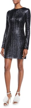 Long-Sleeve Sequined Body-Con Mini Dress