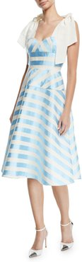 Sleeveless Bow-Strap Striped Mid-Calf Cocktail Dress