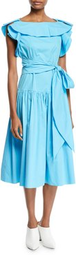 Boat-Neck Cap-Sleeve Belted A-Line Mid-Calf Dress
