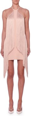 Sleeveless Illusion Wing Fringe Stretch-Cady Mini Dress