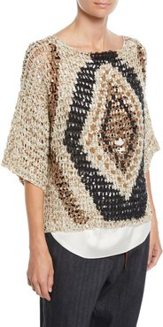 Sequined Open-Weave Diamond 3/4-Sleeve Sweater