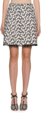 Daisy-Embroidered Tweed A-Line Skirt