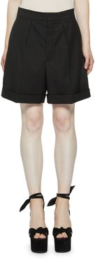 Pleated Wool Bermuda Shorts