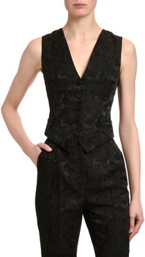 Stretch-Jacquard V-Neck Button-Front Vest