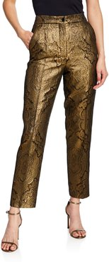 Jacquard Metallic Paisley Tux-Striped Trousers