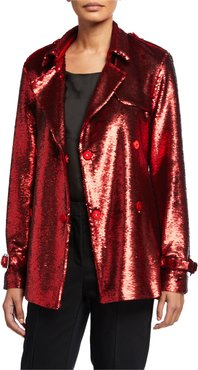 Malcom Embroidered Sequined Trench Coat