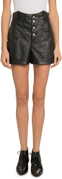 High-Waist Leather Button-Front Shorts