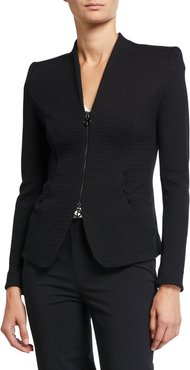 Textured Jersey Zip-Front Jacket