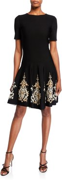 Metallic-Embroidered Knit Day Dress