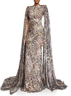 Alex Animal-Print Silk Chiffon Gown w/ Cape