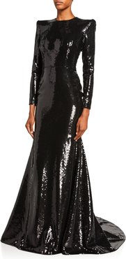 Felix Sequined Long-Sleeve Gown