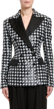 Houndstooth Sequined Double-Breasted Jacket
