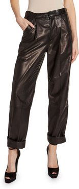 Leather Front-Pleated Crop Pants