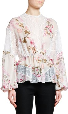 Full-Sleeve Lace-Inset Floral Chiffon Top