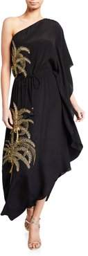Maisie One-Shoulder Palm-Embroidered Dress