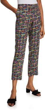 Tweed Print Cuffed Pants