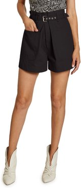 Ike Belted High-Rise Cotton Shorts