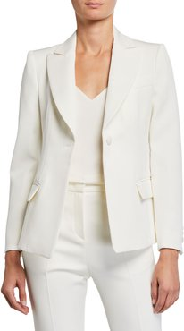 Fitted Classic One-Button Gabardine Jacket