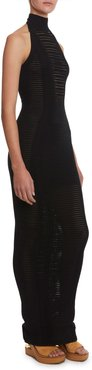 Long Transparent-Striped Bodycon Halter Dress
