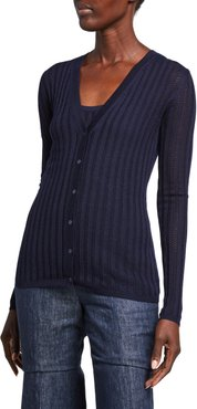 Homer Ribbed Cashmere V-Neck Cardigan