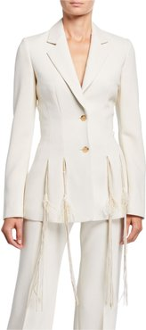Maurice Beaded-Fringed Crepe Blazer