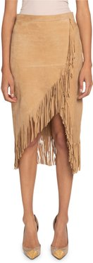 Suede Fringed Wrap Skirt