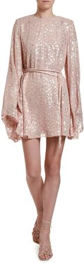 Metallic Animal-Spot Jacquard Silk Mini Dress