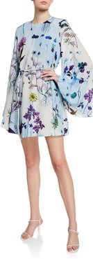 Floral Print Silk Bell-Sleeve Mini Dress
