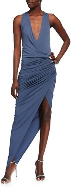 Ruched Jersey Wrap Gown