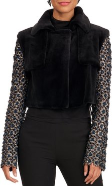 Sheared Mink Fur Jacket With Beaded Sleeves