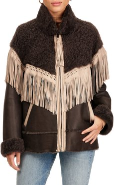 Shearling Lamb Jacket With Fringes