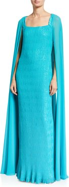 Caped Sequined Gown