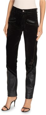 Studded-Leather Skinny Jeans
