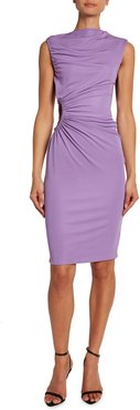 Crepe Jersey Shirred-Cutout Cocktail Dress