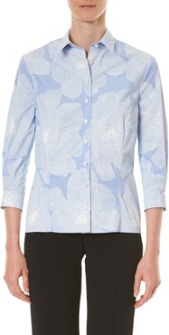 Tonal Floral Pinstriped Classic Button-Front Shirt