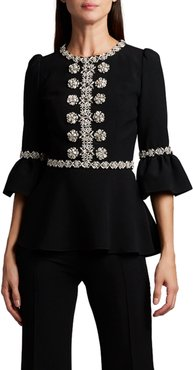 Embroidered Lace-Up Blouse
