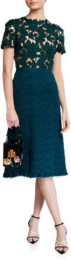 Lace-Bodice Tweed Skirt Cocktail Dress