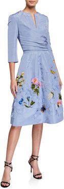 Floral-Embroidered Taffeta Cocktail Dress