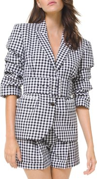 Gingham Crushed-Sleeve Fitted Blazer