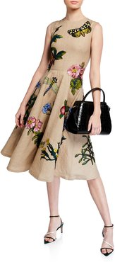 Sleeveless Jewel-Neck Embroidered Midi Fit-and-Flare