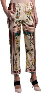 Abstract Scatter Print Silk Pants