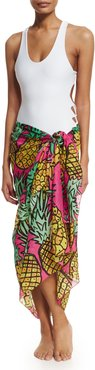 Pineapples Classic Voile Pareo, Pink/Yellow