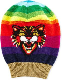 Wool Beanie Hat with Angry Cat Motif