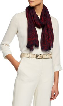 Two-Tone Paisley Cashmere Scarf